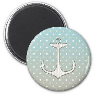 Vintage Nautical Anchor Blue Tan White Polka Dots 2 Inch Round Magnet