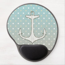 Vintage Nautical Anchor Blue Tan White Polka Dots Gel Mouse Pad