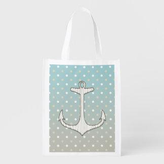 Vintage Nautical Anchor Blue Tan White Polka Dots Market Tote