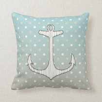 Vintage Nautical Anchor Blue Tan White Polka Dots Throw Pillow