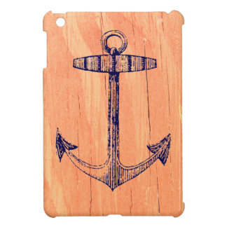 Vintage Nautical Anchor Faux Wood Background Case For The iPad Mini