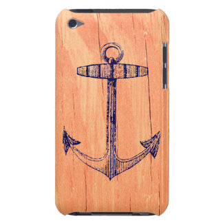 Vintage Nautical Anchor Faux Wood Background iPod Touch Case-Mate Case