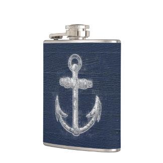 Vintage Nautical Anchor Navy Blue/White Flasks