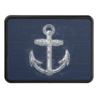 Vintage Nautical Anchor Navy Blue/White Tow Hitch Cover