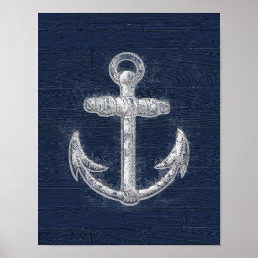 Vintage Nautical Anchor Poster