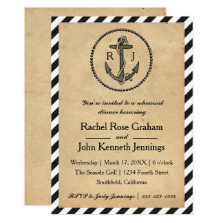 Vintage Nautical Anchor - Rehearsal Dinner Invite