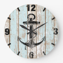 Vintage Nautical Anchor Stripes Wood Large Clock