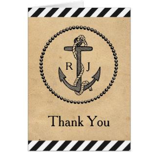 Vintage Nautical Anchor - Thank You Note Card