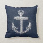 Vintage Nautical Anchor Throw Pillow