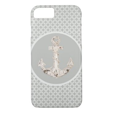 Beach Themed vintage nautical beach anchor grey pattern iPhone 7 case