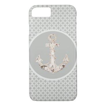 Beach Themed vintage nautical beach anchor grey pattern iPhone 7 case