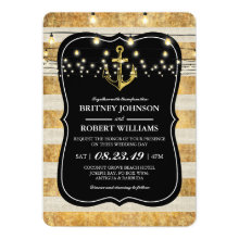 Vintage Nautical Beach Gold String Lights Wedding Invitation