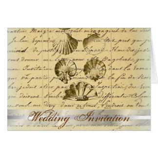 vintage nautical beach seashell wedding card