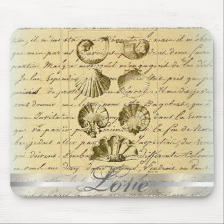 vintage nautical beach seashell wedding mouse pad