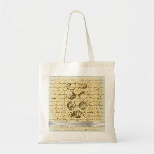 vintage nautical beach seashell wedding tote bag