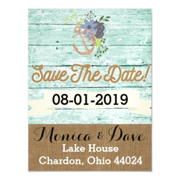 Beach Themed Vintage/Nautical/ Beach/ ShabbyChic/ Save the Date Magnetic Card