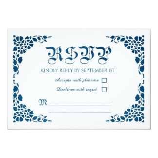 Vintage Nautical Blue Foil Wedding RSVP Cards