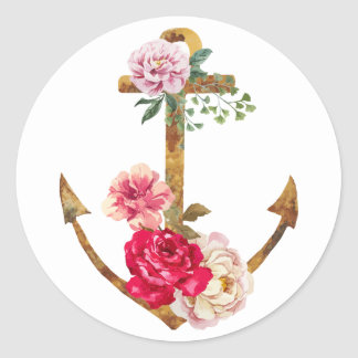 Vintage Nautical Boat Anchor Red & Pink Peony Classic Round Sticker