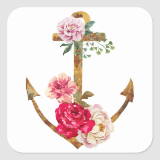 Vintage Nautical Boat Anchor Red & Pink Peony Square Sticker