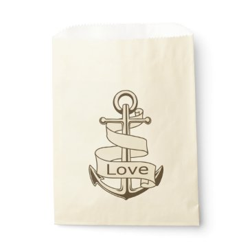 Beach Themed Vintage Nautical Brown Ship Anchor Wedding Party Favor Bag
