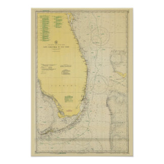 Vintage Nautical Chart Map of Florida Poster