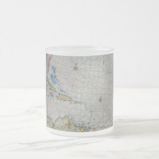 Vintage Nautical Chart Of The Caribbean Frosted Glass Coffee Mug
