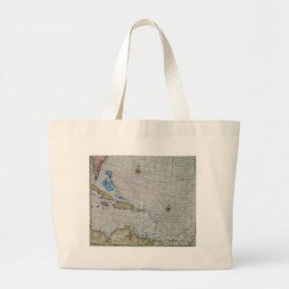 Vintage Nautical Chart Of The Caribbean Jumbo Tote Bag
