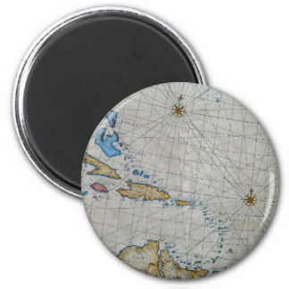 Vintage Nautical Chart Of The Caribbean Magnet