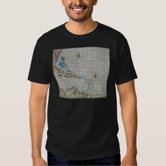 Vintage Nautical Chart Of The Caribbean T Shirt