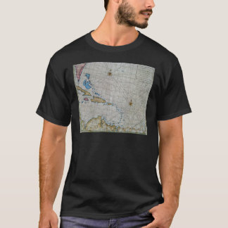 Vintage Nautical Chart Of The Caribbean T-Shirt