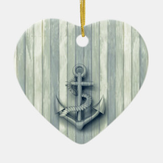 Vintage nautical classy anchor ceramic ornament