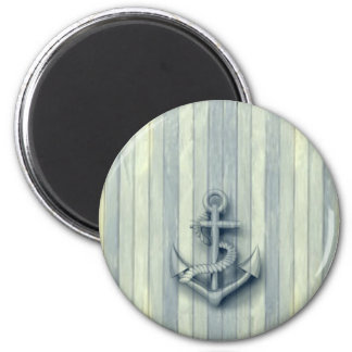 Vintage nautical classy anchor wooden look 2 inch round magnet