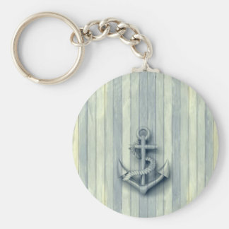 Vintage nautical classy anchor wooden look keychain