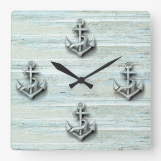 Vintage nautical classy anchor wooden square wall clock