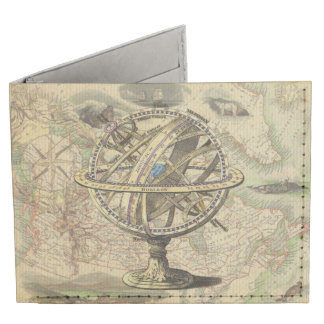 Vintage Nautical Compass and Map Billfold Wallet