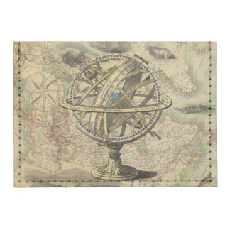 Vintage Nautical Compass and Map Card Wallet