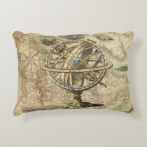 Vintage Nautical Compass and Map Decorative Pillow