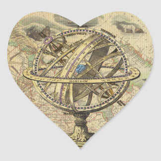 Vintage Nautical Compass and Map Heart Sticker