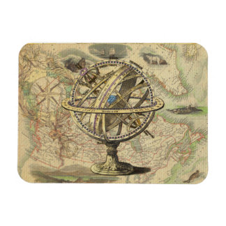 Vintage Nautical Compass and Map Magnet