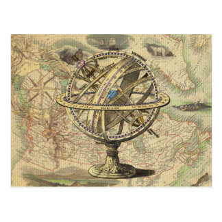 Vintage Nautical Compass and Map Postcard