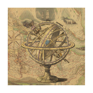Vintage Nautical Compass and Map Wood Wall Decor