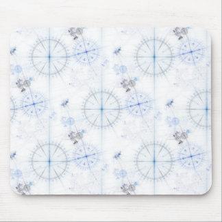 Vintage nautical compass dials light blue pattern mousepads