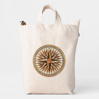 Vintage Nautical Compass Logo Boat Sea Shipping Duck Bag