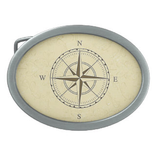 Vintage Nautical Compass Rose Ivory Belt Buckle