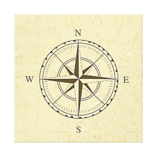 Vintage Nautical Compass Rose Ivory Canvas Print