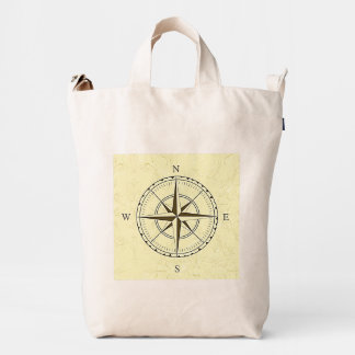 Vintage Nautical Compass Rose Ivory Duck Bag