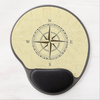 Vintage Nautical Compass Rose Ivory Gel Mouse Pad