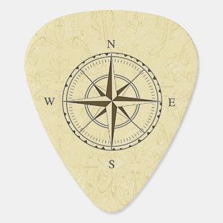 Vintage Nautical Compass Rose Ivory Guitar Pick