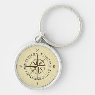Vintage Nautical Compass Rose Ivory Keychain