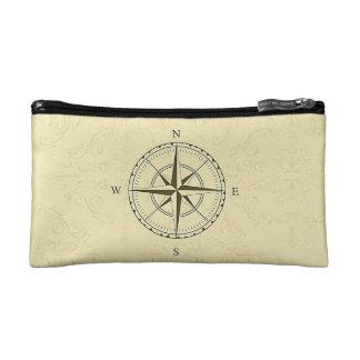Vintage Nautical Compass Rose Ivory Makeup Bag